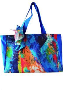 Bolsa De Praia Com Lenço Pintura A Óleo Azul