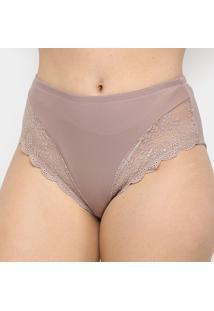 Calcinha Marcyn Renda Plus Size Cavada - Feminino-Marrom Claro