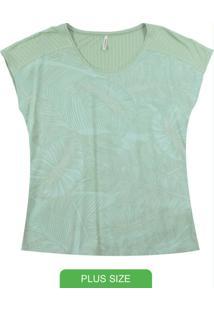 Blusa Manga Curta Com Estampa Rotativa Verde