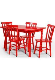 Conjunto De Mesa 110X80 Mônaco Com 4 Cadeiras Assento Grande - Vermelho - Btb Móveis