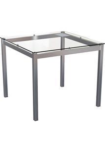 Mesa De Jantar Quadrada Com Tampo De Vidro LaãS Incolor E Cromado