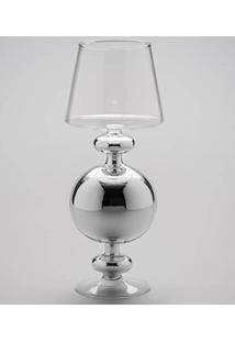 Castiçal Formato Abajur Médio Transparente E Prata Em Vidro - Prestige - 32X12 Cm