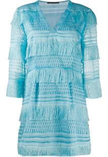 Alberta Ferretti Fringed Short Dress - Azul