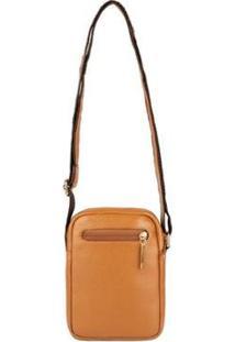 Bolsa Feminina Shoulder Bag De Couro Pietra - Feminino-Caramelo