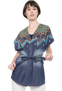 853234bde Kimono Fashion Estampado Jeans feminino