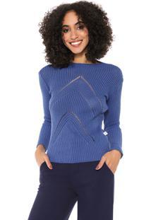 Suéter Mercatto Tricot Ajustada Azul