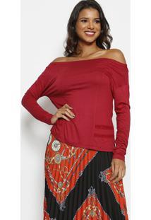 Blusa Ombro A Ombro Com Recortes - Vermelho Escuro -Thipton