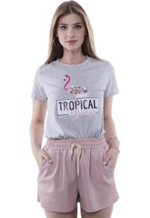 Camiseta T-Shirt Tropical Paradise Aplicação Pedras Pop Me Cinza
