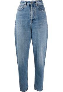 Marcelo Burlon County Of Milan Calça Jeans Cenoura Com Cintura Alta - Azul