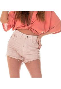 Shorts Jeans Denim Zero Setentinha Colorido - Feminino-Rosa Claro