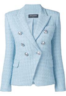 Balmain Blazer De Tweed - Azul