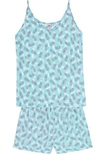 Pijama Feminino Curto Com Alças Finas Estampado