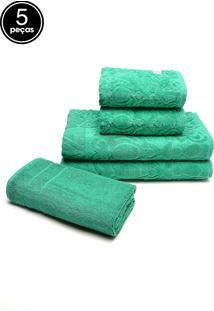Jogo De Banho 5Pçs Atlântica Pedras Preciosas Verde