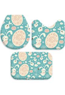 Jogo Tapetes Love Decor Para Banheiro Cute Azul Único - Kanui