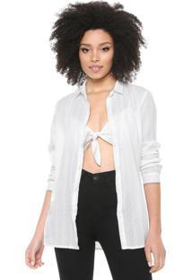 Camisa Cantão Com Top Voil Off-White