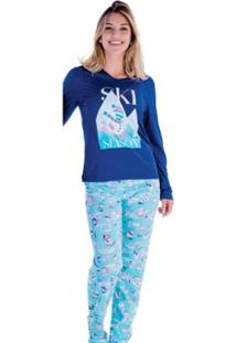 Pijama Feminino Victory Inverno Frio Longo Malha Fria - Feminino-Azul Escuro