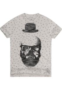 Camiseta Masculina Flamê Caveira Off White