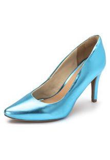 Scarpin Salto Fino Flor Da Pele Metalizado Holográfico Azul Serenity