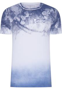 Camiseta Masculina Floral Degradê - Branco E Azul