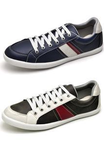 Kit Sapatênis Top Franca Shoes - Masculino-Preto+Cinza