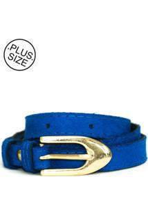 Cinto Feminino Plus Size - Confidencial Extra Fininho Veludo Com Fivela - Azul
