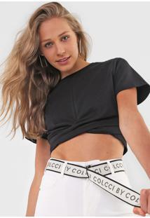Camiseta Cropped Colcci Torção Preta