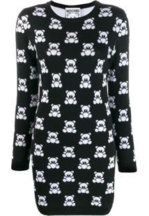 Moschino Vestido Estampado 'Teddy' - Preto