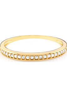 Anel Em Ouro Amarelo 18K Com Diamante - Meia Aliança 18
