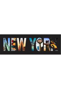 "Placa Decorativa ""New York""- Preta & Azul Claro- 10Xkapos"