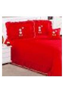 Cobre Leito Vermelho Clean Liso 5 Peças Com Almofada Decorativa