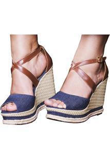 Sandália Sb Shoes Anabela Ref.3205 Marinho/Caramelo - Kanui