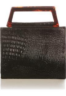 Bolsa De Mão Blue Bags Estruturada Croco Feminina - Feminino-Preto