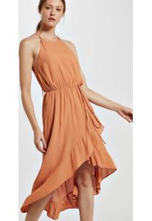 Vestido De Viscose Midi Saia Assimétrica Com Babados Marrom Boho - 44