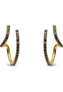 Brinco Link Ouro Amarelo Diamantes Negros Pequeno