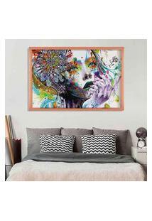 Quadro Love Decor Com Moldura Abstract Face Rose Metalizado Médio