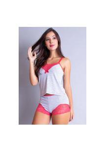 Baby Doll Algodão Bravaa Modas Short Doll Renda Pijama Curto 060 Vermelho