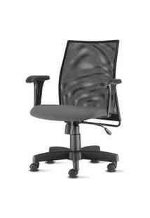 Cadeira Liss Com Bracos Curvados Assento Courino Cinza Escuro Base Metalica Preta - 54654 Cinza