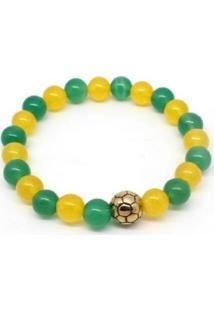 Pulseira Vanglore Bola Dourada Verde E Amarela