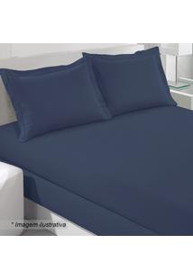 Jogo De Cama King Size- Azul Marinho- 4Pçs- 200 Buettner