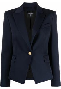 Balmain Virgin Wool Blazer - Azul