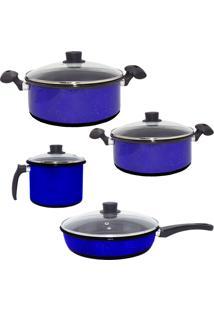 Conjunto Agatha Caçarolas Esmaltadas, Caneco E Frigideira Azul Granitada Com 4 Tampas De Vidro