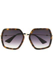 Gucci Eyewear Óculos De Sol Oversized Com Lentes Em Degradê - Marrom