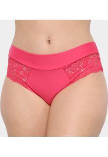 Calcinha Marcyn Alta Cavada Plus Size - Feminino-Pink