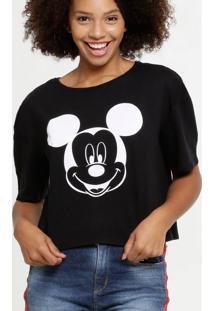 Blusa Feminina Flamê Mickey Manga Curta Disney