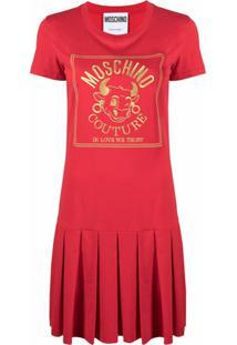 Moschino Vestido Reto Com Logo Bordado - Vermelho