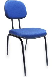 Cadeira Secretária Fixa Pé Palito Jserrano Azul Para Escritório Recepção