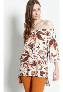 Blusa Floral Com Elástico - Off White & Marrom Clarocanal