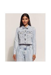 Jaqueta Jeans Feminina Cropped Marmorizada Com Bolsos E Barra A Fio Azul Claro