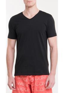 Camiseta Ck Swim Mc Gola V Silk Manga - Preto - P