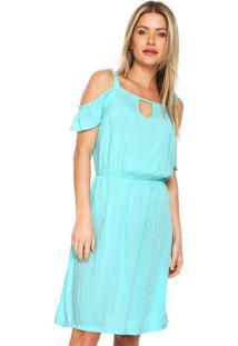 Vestido Ciganinha Mercatto Curto Liso Azul
